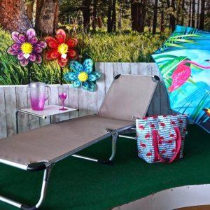 Cama camping plegable taupé