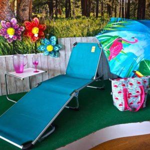 Cama camping plegable turquesa